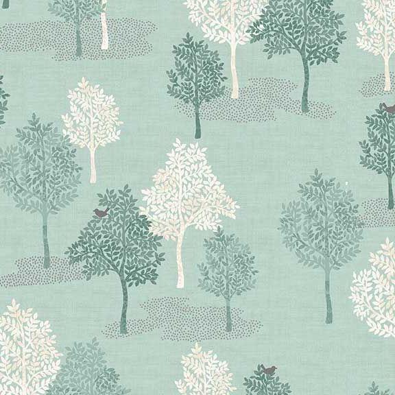 Woodland Trees Bird Forest Woodland Scene Turquoise Scenic Cotton Fabric