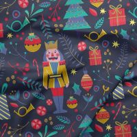 Night of the Nutcracker Largescale Christmas Navy Nutcrackers Soldier Festive Winter Cotton Fabric