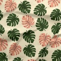 Green Thumb Girls Monstera Leaves Tropical Cheese Plant Leaf Botanical Cotton Fabric