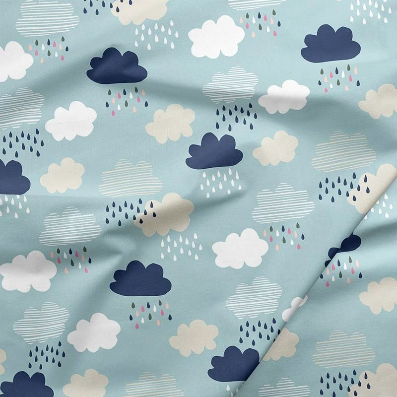 Over The Rainbow Rainy Days Raincloud Cloud Rain Clouds Drops Cotton Fabric