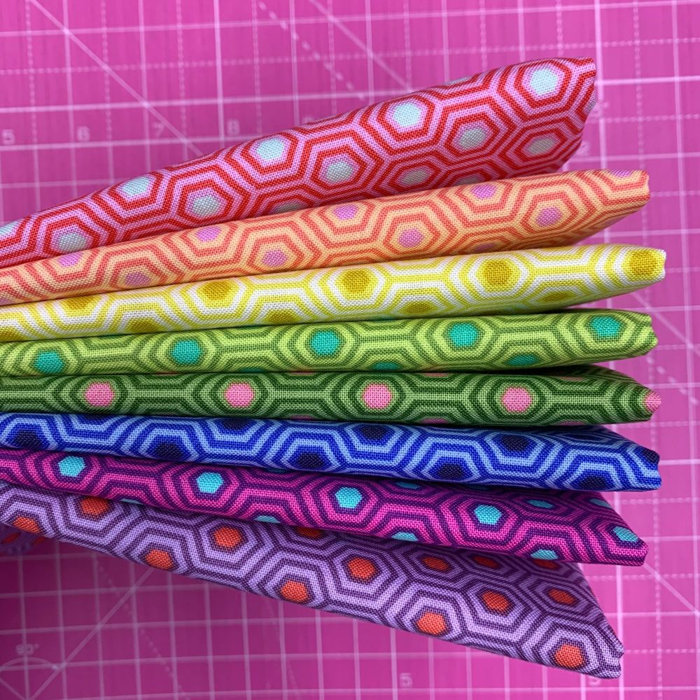 IN STOCK True Colors Hexy LJF Rainbow Tula Pink 8 Long Quarter 9 Inch Strip