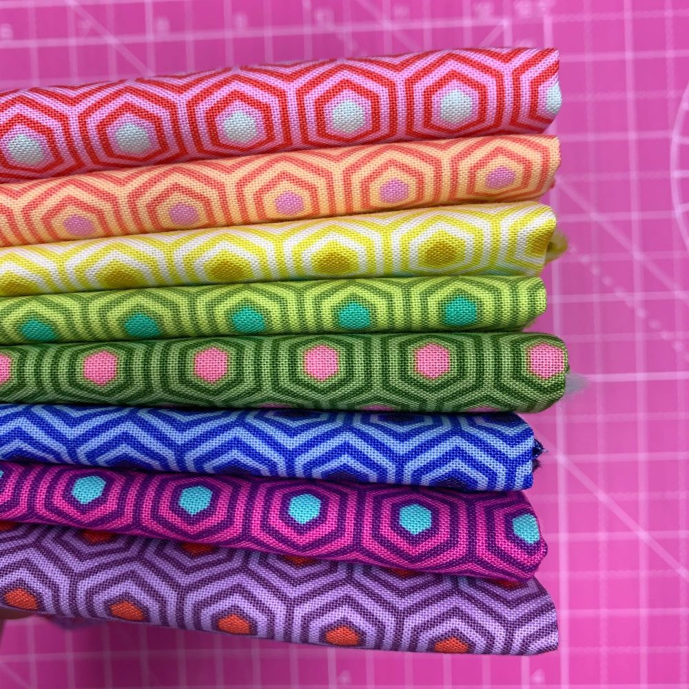IN STOCK True Colors Hexy LJF Rainbow Tula Pink 8 Fat Quarter Bundle Cotton