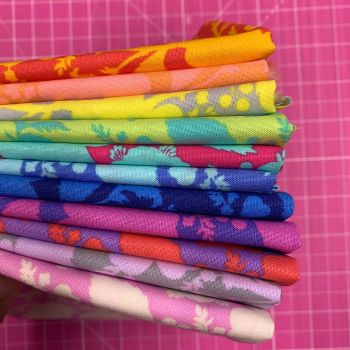 IN STOCK True Colors Wildflower LJF Rainbow Tula Pink 11 Fat Quarter Bundle Cotton Fabric Cloth Stack