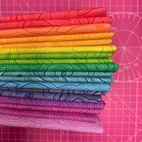 True Colors Mineral LJF Rainbow Tula Pink 12 Fat Quarter Bundle Cotton Fabric Cloth Stack