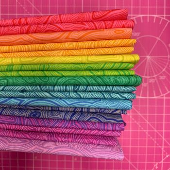 IN STOCK True Colors Mineral LJF Rainbow Tula Pink 12 Fat Quarter Bundle Cotton Fabric Cloth Stack