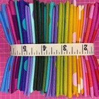 Tula Pink LJF True Colors Pom Poms Stripes Rainbow Colours Blenders Coordinates 24 Fat Quarter Bundle Cotton Fabric Cloth Stack Full Collecti