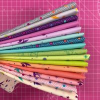 True Colors Fairy Cakes LJF Curated Rainbow Tula Pink 16 Long Quarter 9 Inch Strip Bundle Cotton Fabric Cloth Stack
