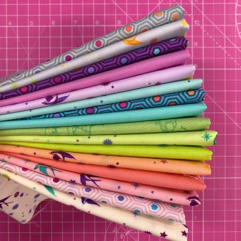 IN STOCK True Colors Fairy Cakes LJF Curated Rainbow Tula Pink 16 Long Quarter 9 Inch Strip Bundle Cotton Fabric Cloth Stack