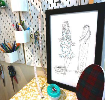 "UK EXCLUSIVE Jasika Nicole ""Sew Good"" Sewist Maker Sewing Illustration 11"" x 17"""