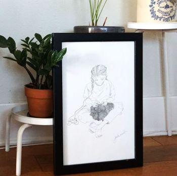 """UK EXCLUSIVE Jasika Nicole """"Stockinette"""" Knitting Knitters Illustration 11"""" x 17"""""""