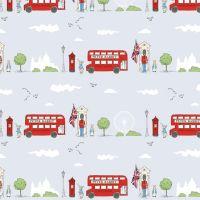 Peter Rabbit London Beatrix Potter City Scene Grey Letter Box London Bus Soldier Cotton Fabric