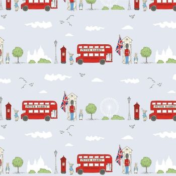 Peter Rabbit London Beatrix Potter City Scene Grey Letter Box London Bus Soldier Cotton Fabric