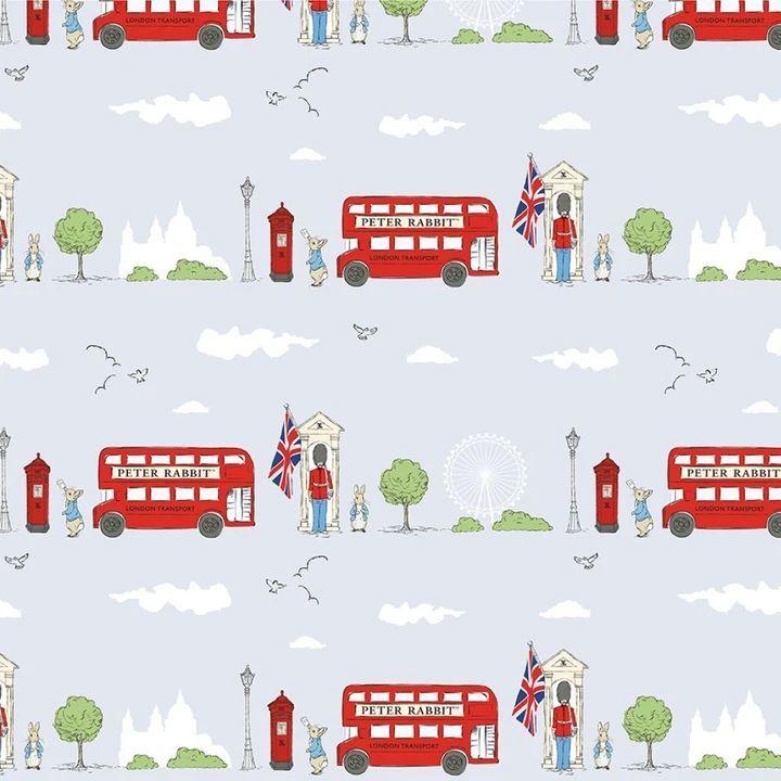 Peter Rabbit London Beatrix Potter City Scene Grey Letter Box London Bus So