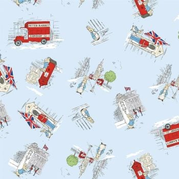 Peter Rabbit London Beatrix Potter City Scene Blue Scatter Letter Box London Bus Soldier Cotton Fabric