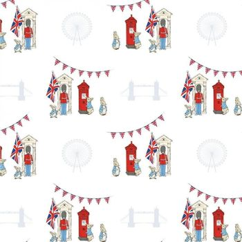 Peter Rabbit London Beatrix Potter City Icon Bunting White Letter Box Soldier Cotton Fabric