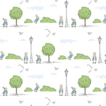 Peter Rabbit London Beatrix Potter City London Park Trees White Cotton Fabric