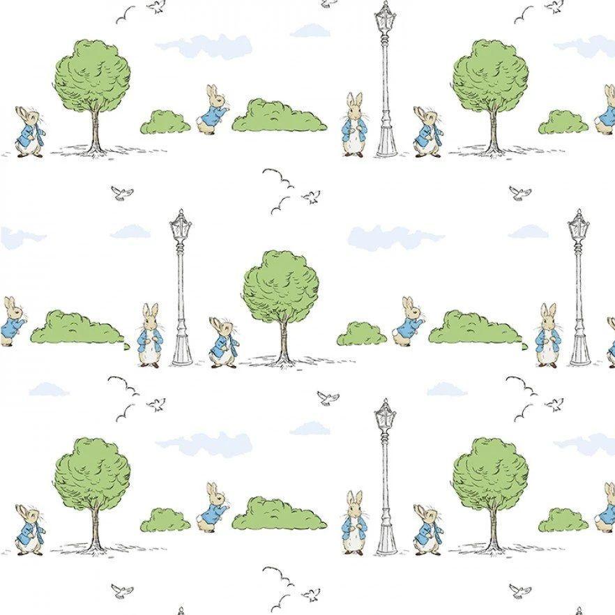 Peter Rabbit London Beatrix Potter City London Park Trees White Cotton Fabr