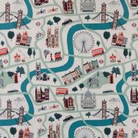 London Town London Forever City Map Landmarks Scenic Travel Unbleached Cotton Fabric by Sara Mulvanny for Cotton + Steel