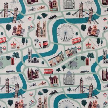 DESTASH 1.3m London Town London Forever City Map Landmarks Scenic Travel Unbleached Cotton Fabric by Sara Mulvanny for Cotton + Steel