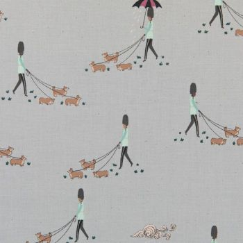 London Town Reign Reign Go Away Cloudy Soldiers Corgi Dogs Dog Walking Unbleached Cotton Fabric by Sara Mulvanny for Cotton + Steel