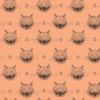 Scaredy Cat Heads Light Orange Halloween Spooky Hallowe'en Amanda Niederhauser Cotton Fabric
