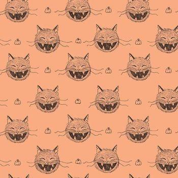 Scaredy Cat Heads Light Orange Halloween Spooky Hallowe'en Amanda Niederhauser Cotton Fabric