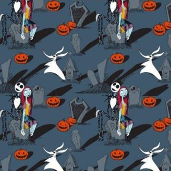 EXCLUSIVE Disney World of Nightmare Before Christmas Jack Skellington and Sally Graveyard Blue Grey Cotton Fabric