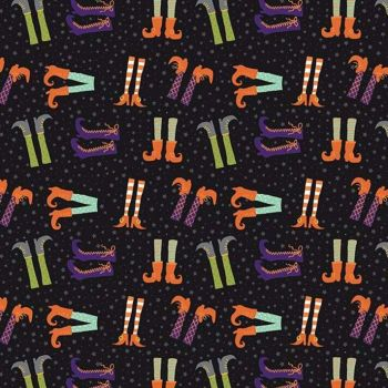 Hocus Pocus Witch Feet Witches Legs Halloween Spooky Hallowe'en Cotton Fabric