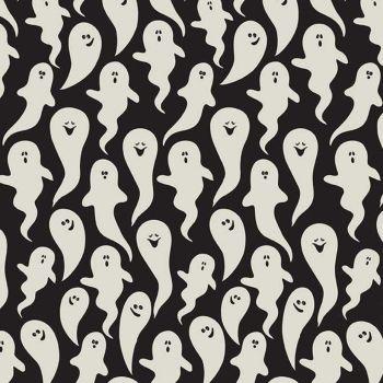 Hocus Pocus Glow in the Dark Ghosts Black GID Halloween Ghost Spooky Hallowe'en Cotton Fabric