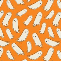Spooky 'n Sweet Pick-a-Boo Ghosts in Pumpkin Halloween Ghost Hallowe'en Cotton Fabric