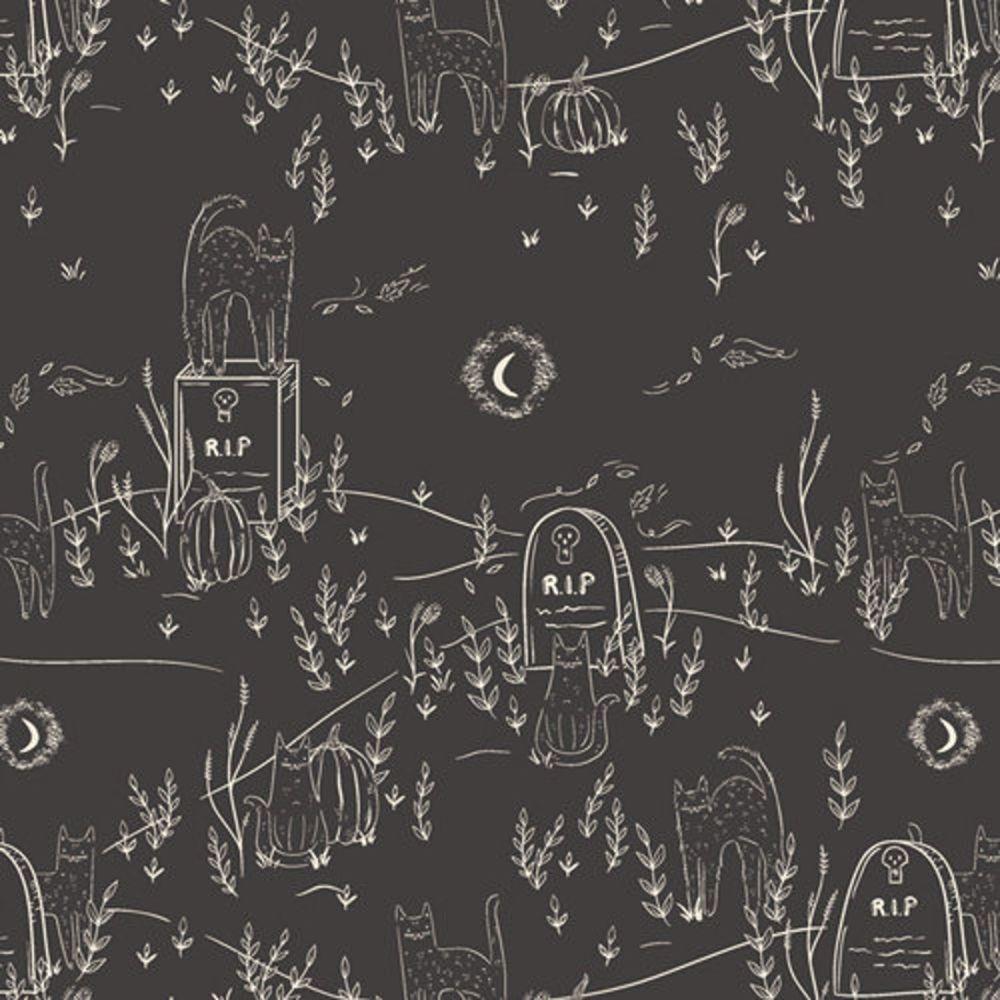 Spooky 'n Sweet Purranormal Activity in Noir Graveyard Halloween Cats Hallo