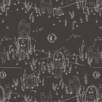 Spooky 'n Sweet Purranormal Activity in Noir Graveyard Halloween Cats Hallowe'en Cotton Fabric