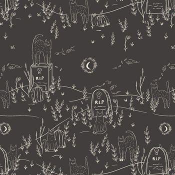 Spooky 'n Sweet Purranormal Activity in Noir Graveyard Halloween Cats Hallowe'en Cotton Fabric