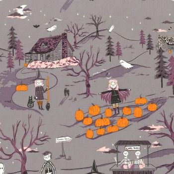 Spooky 'n Sweet Peppermint's Tale in Nightfall Halloween Pumpkin Patch Hallowe'en Cotton Fabric