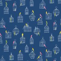 Figo Promenade Bird Cages Birds Budgie Birdcage Navy Cotton Fabric