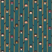 Figo Treehouse Hide and Seek Teal Raccoon Woodland Creature Tree Cotton Fabric