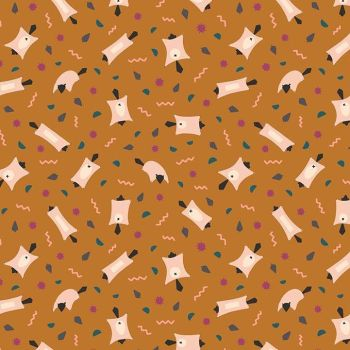 Figo Treehouse Flying Squirrel Ochre Woodland Creature Abstract Geometric Memphis Cotton Fabric