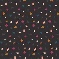 Figo Treehouse Toss Charcoal Confetti Woodland Creature Abstract Geometric Memphis Cotton Fabric