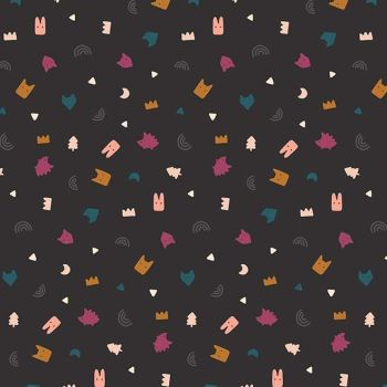 Figo Treehouse Toss Charcoal Confetti Woodland Creature Abstract Geometric Memphis Cotton Fabric