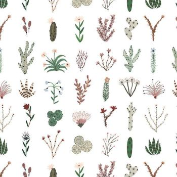 Figo Desert Wilderness Plants Grid Cactus Cacti Botanical Succulent Cotton Fabric