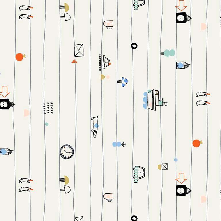 Figo Book Club Notebook Lines Doodles Cotton Fabric