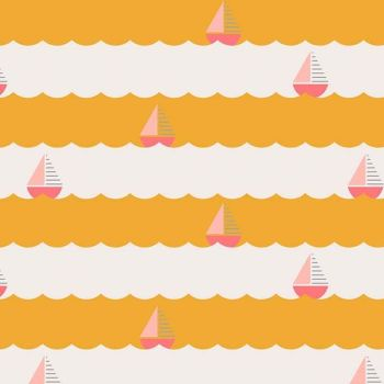 Figo Sunkissed Waves Sailboat Yellow Nautical Seaside Vacation Cotton Fabric