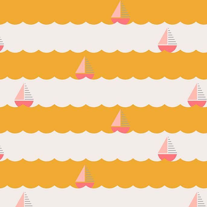 Figo Sunkissed Waves Sailboat Yellow Nautical Seaside Vacation Cotton Fabri