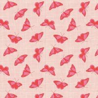 Figo Glasshouse Butterflies Orange Coral Red Butterfly Cotton Fabric