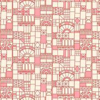 Figo Glasshouse Windows Red Geometric Cotton Fabric