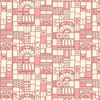 Figo Glasshouse Windows Red Geometric Cotton Fabric