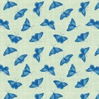 Figo Glasshouse Butterflies Green Blue Butterfly Cotton Fabric