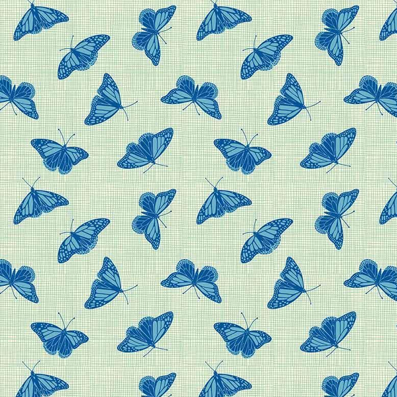 Figo Glasshouse Butterflies Green Blue Butterfly Cotton Fabric