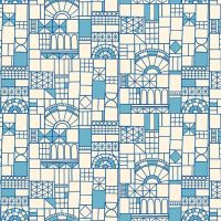 Figo Glasshouse Windows Blue Geometric Cotton Fabric