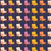 Figo Butterscotch Chairs Navy Furniture Chair Geometric Cotton Fabric